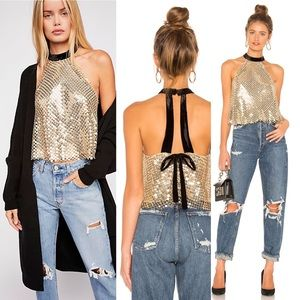 New with Tags Free People gold sequin swing top